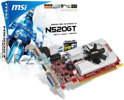 Версия GeForce GT 520 от MSI позирует на фото